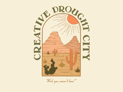 creative drought city sun cactus desert postcard pink mountains drawing texture illustration typography type design