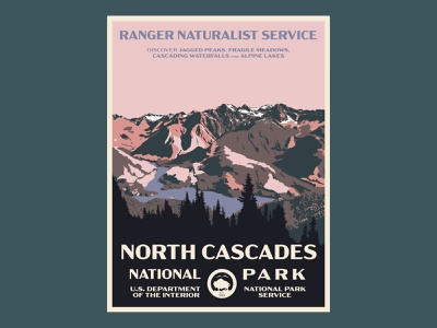 north cascades postcard national parks north cascades washington vintage trees postcard mountains illustration type design