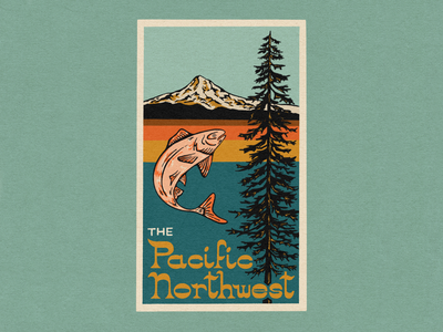 PNW drawing procreate mount hood pnw fish retro tree mountains texture illustration hand lettering typography design