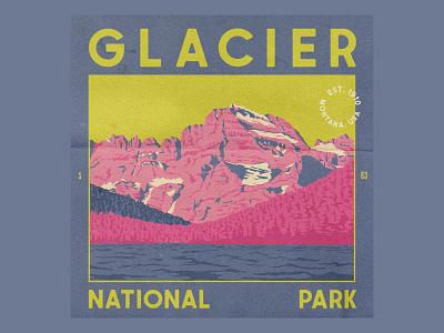 Glacier National Park retro glacier lake postcard vintage trees mountains national park texture illustration typography design