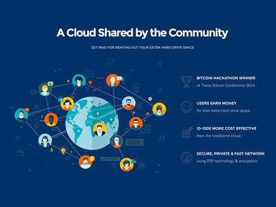 Storj - A Cloud Shared by the Community world money users hackathon bitcoin rent hard drive community storage cloud storj