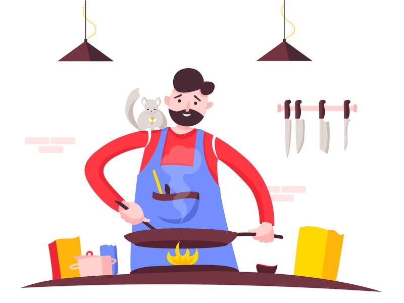 cooking time cooking chinchilla quarantine design vector illustration adobe illustrator