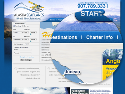 Alaska Seaplanes Concept website alaska