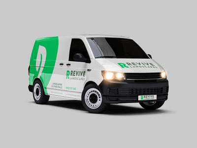 Revive Landscapes Van Graphics design vehicle wrap branding landscaping landscapes revive