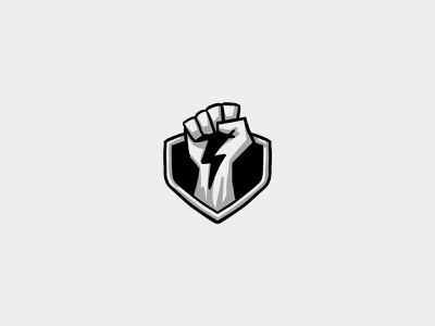 Unused Logo Sketch esports bolt thunder electricity lightning power shield fist design sketch logo