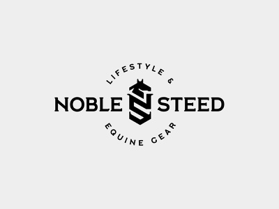Noble Steed Logo crest brandng lifestyle steed equine horse design logo