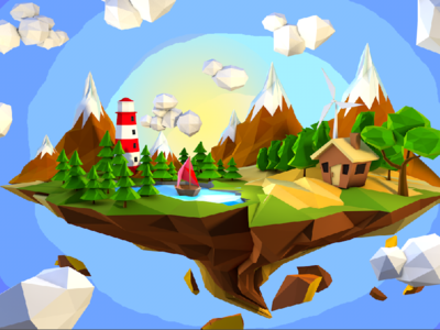 Copies - Floating Island low poly c4d