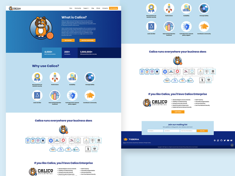 Project Calico - Open Source Project Website technical cloud security containers saas microservices kubernetes orange white blue illustration marketing cat projectcalico branding webdesign