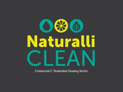 NaturalliClean | Commercial & Residential Cleaning Service logo cleaning service natural lemon leaf droplet branding
