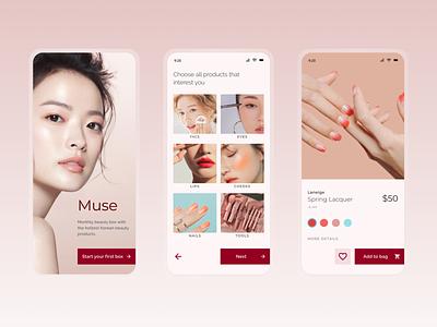 "Makeup ""subscription box"" app skincare beauty makeup product modern iphone figma ui design product design minimal flat onboarding ui ux mobile ecommerce design"