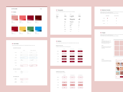 UI Style guide for Muse pink design system style guide ui style guide ui design product productdesign ui korean skincare modern mobile minimal makeup iphone flat figma ecommerce design beauty