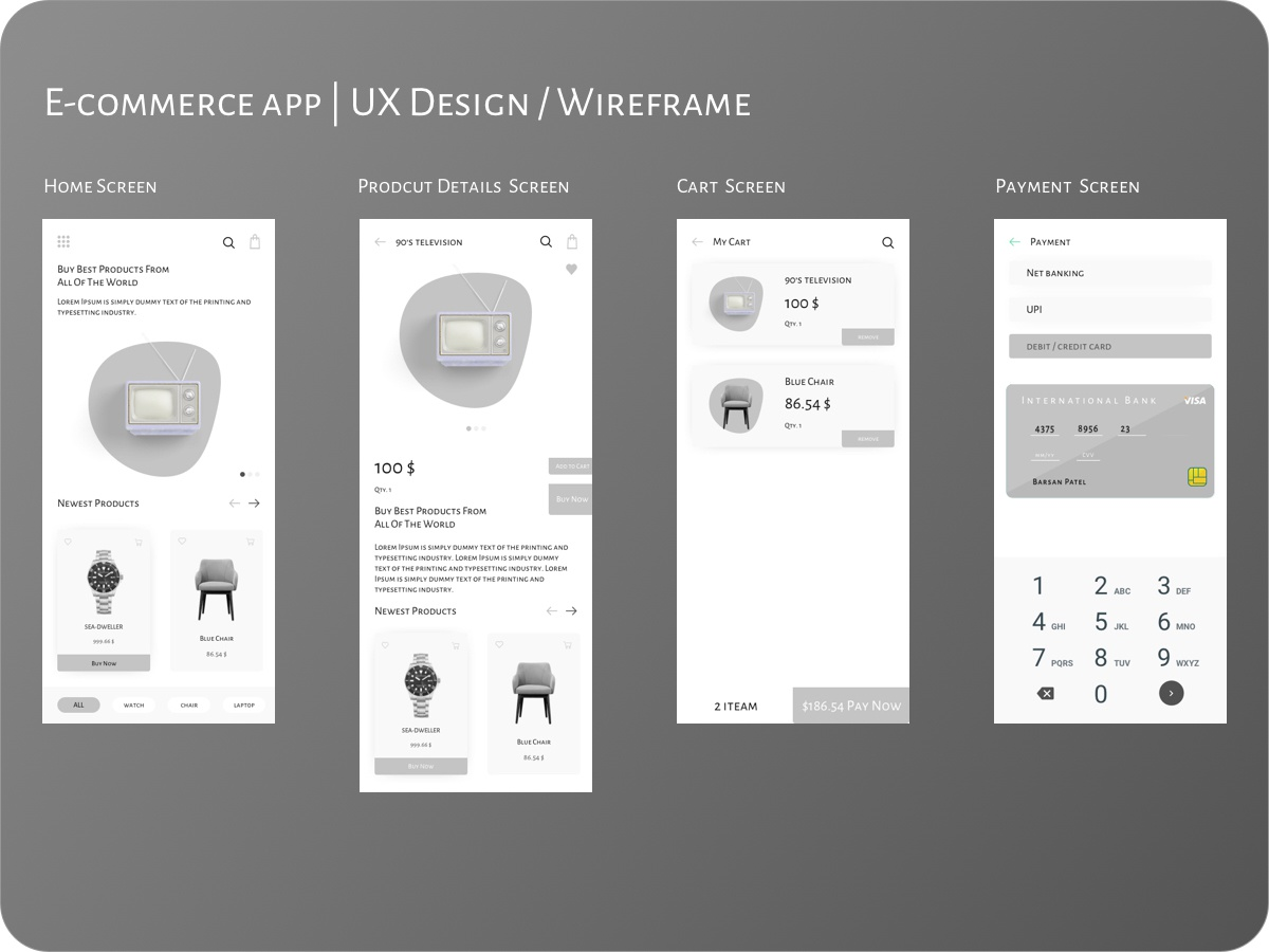 E-commerce app | UX Design / Wireframe mockup template online store online shopping electronics product branding product design home module wireframe ux design e-commerce app