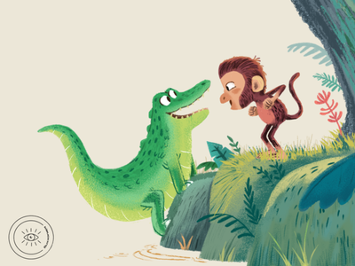 Monka ft. Crocodilan digital illustration digital painting vector illustrator art illustration artwork design