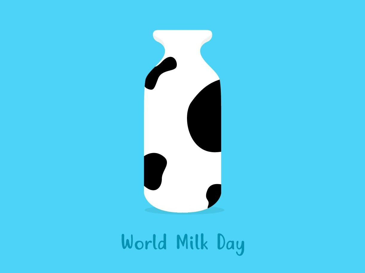 World Milk Day flatdesign minimal cow milk illustrator designer dribbble artwork branding creative illustration artist advertising