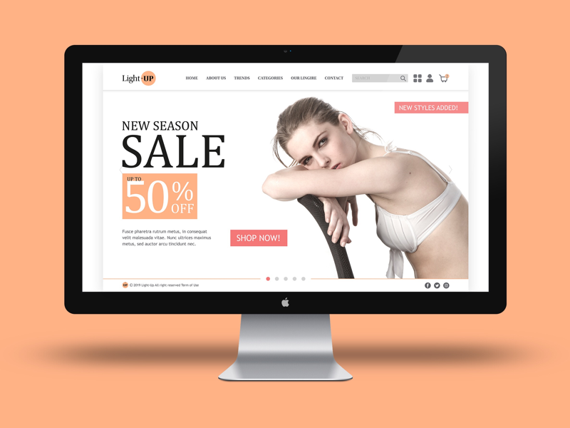 Homepage Design mockup product lingerie women girls graphic design homepage webdesign website