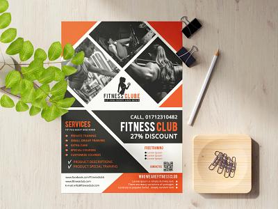 FITNESS CLUB Flyer fitness flyer fitness flat design flyer design