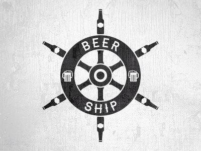 Beer Ship beer bottle mug ship wheel haymaker typography logo texture