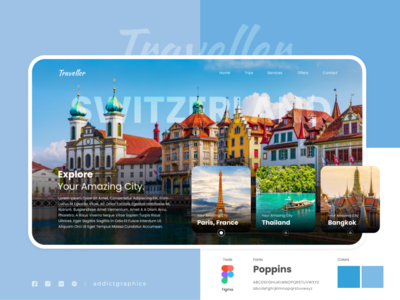 Traveller UI Concept design travel app addict graphicss