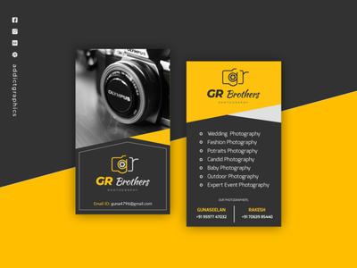 Business Card for Freelance Photographer photography businesscard flat icon design graphicdesign typography addict graphics branding addictgraphics