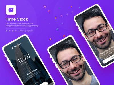 Face Recognition Time Clocks uidesign time clock face recognition mobile app design mobile ui mobile design mobile app uiuxdesign user interface ux user experience graphicdesign ui typography addict graphics branding design addictgraphics