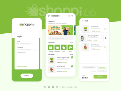 Shoppi - Grocery Shopping Mobile App mobileapp grocery shopping ux userinterface addictgraphics graphic design ui