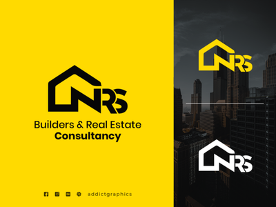 Builders & Real Estate Logo logotype vector construction logo real estate illustration typography design branding addictgraphics logo