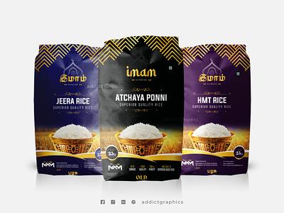 Rice Bag Packaging Design for Imam Rice Brand package design mockup package packaging design product design illustration branding addict graphics
