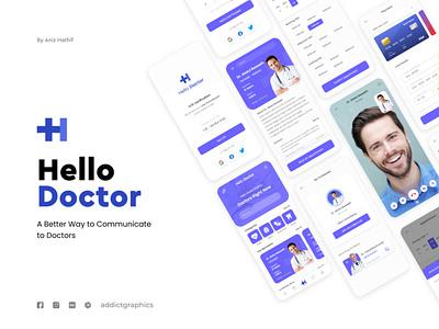 Hello Doctor - Mobile App doctor app mobile app ux vector uiux user experience user interface ui addictgraphics addict graphics