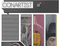 ConArtist Landing Page with work