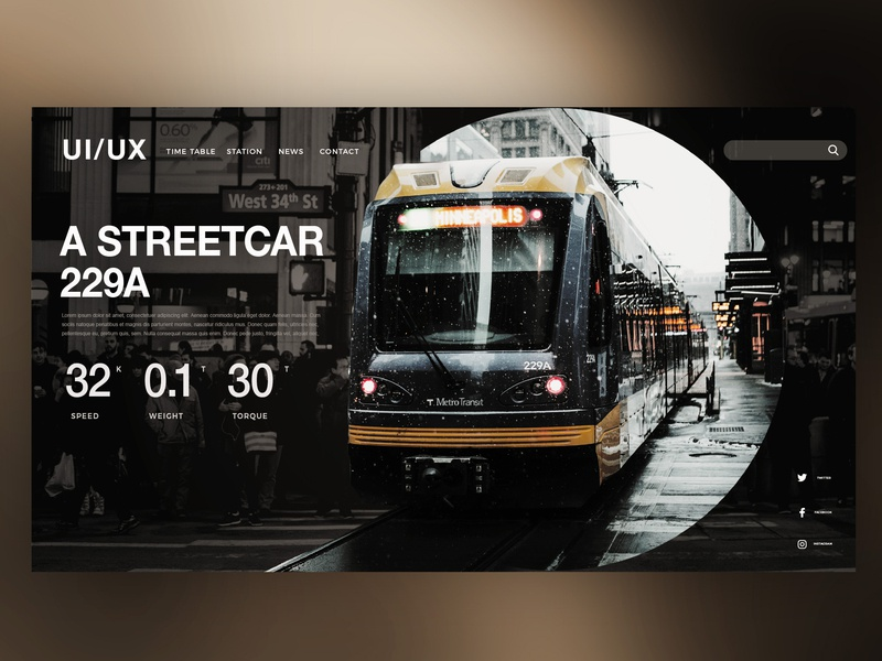 🚃A STREETCAR  |Daily Ui Design webdesign web ux userexperience uitrends ui photoshop landingpage interface graphicdesign graphic details design creative train electrictrain streetcar