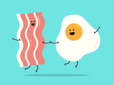 You are the bacon to my egg vector food icon breakfast illustration love egg bacon doodle design