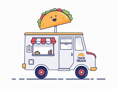 Taco Truck food truck cute food design vehicle truck taco illustration vector