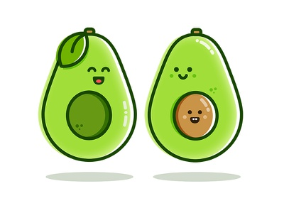 Avocado Family icon green drawing illustration vector food avocado