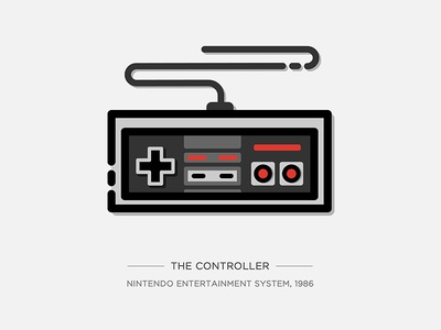 Nintendo Illustration Series - The Controller video game console game nintendo controller nes illustration vector drawing icon vintage series
