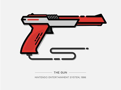 Nintendo Illustration Series - The Gun super mario video game nes gun controller nintendo console game icon drawing illustration vector