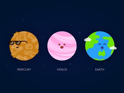 Planet Series - Mercury, Venus, Earth planet set universe space system solar vector illustration venus mercury earth planets