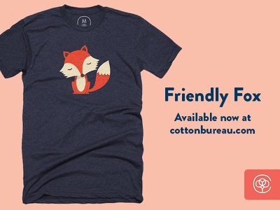 Friendly Fox is back! design animal cute fox vector illustration apparel tee shirt cotton bureau