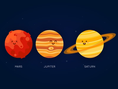 Planet Series - Mars, Jupiter, Saturn red planet universe space system solar vector illustration saturn jupiter mars planets