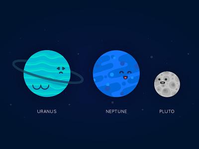 Planet Series - Uranus, Neptune, Pluto cute planet universe space system solar vector illustration pluto neptune uranus planets