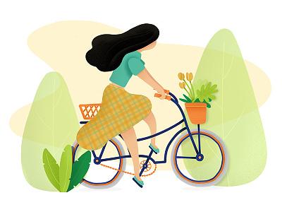 Bike Ride ipad outdoors plants noise vector texture procreate illustration character girl bike bicycle