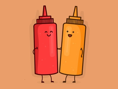 Saucey Friends bottle tomato kawaii procreate character cute illustration vector sauce mustard ketchup condiment