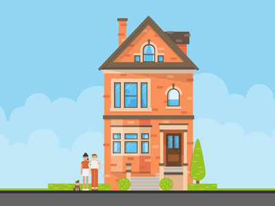 A couple, their dog, and their house flat design architecture building home vector illustration household dog family house illustration house