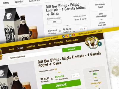 Interface do e-commerce BeerEX