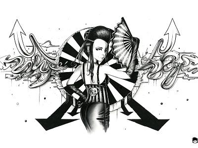 Midnight Carnival ink art drawing illustration