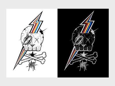 Rainbow Skull ink art branding photoshop design illustration drawing
