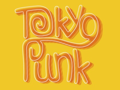 Tokyo Punk typography drawing vector logo