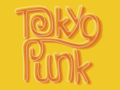 Tokyo Punk typography drawing vector logo