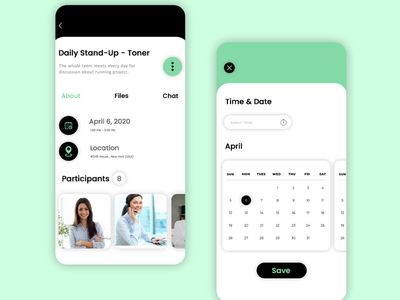 Meeting schedule app app ui mobile ui illustration photoshop app design