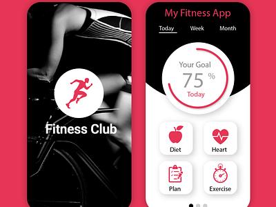 Fitness App UI vector design mobile app design mobile ui app design ux ui branding illustrator photoshop