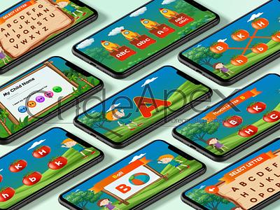 Kids learning app design icon typography vector app design ux ui illustrator mobile ui photoshop